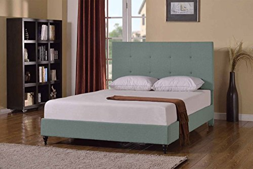 Home Life Cloth Light Green Sage Linen Platform Bed with Slats Full - Complete Bed 5 Year Warranty Included