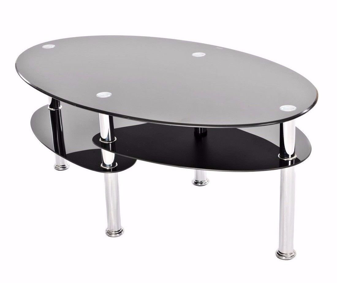 Vibrant Globe Moderne en Verre Noir et Chrome Ovale Table Basse de Salon avec 2//étag/ères