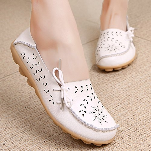 KALEIDO New Casual Size Hollow Loafers Shoes Leather Flat Out White Version Cowhide Carving Womens Driving ddqrxwU50