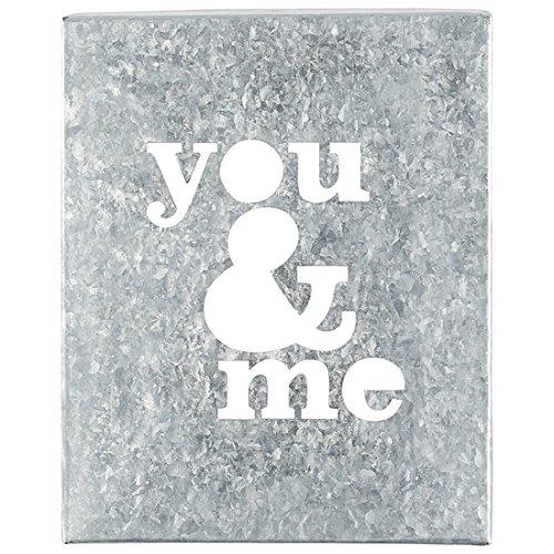 You and Me 10.5 x 8.5 Tin Metal Sentimental Cut-out Wall Art Sign - Cutout Metal