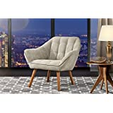 Accent Chair Living Room, Linen Arm Chair Tufted Detailing Natural Wooden Legs (Beige)