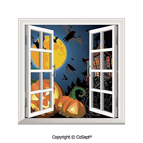 SCOXIXI Artificial Window Wall Applique Landscape Wall Decoration,Gothic Halloween Haunted House Party Theme Decor Trick or Treat for Kids,Window Decorative Decals Interior(26.65x20 inch) -