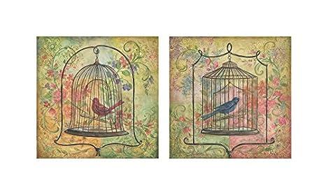 Amazon.com: 2 floral Vintage de jaula de pájaros Art Prints ...
