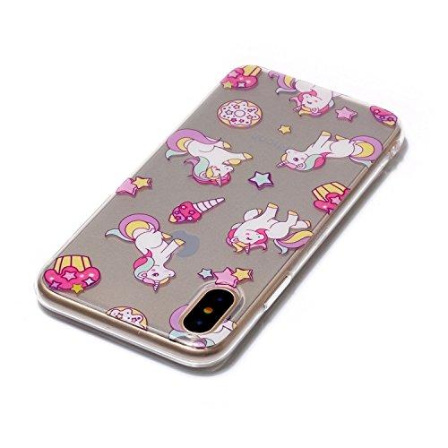 Hülle iPhone X , LH Einhorn TPU Weich Muschel Tasche Schutzhülle Silikon Handyhülle Schale Cover Case Gehäuse für Apple iPhone X