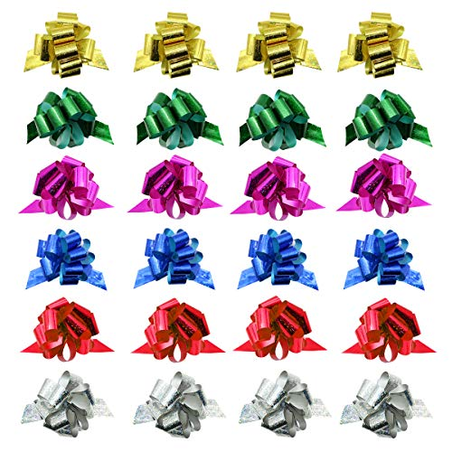 24 Pcs 3.9'' Pull Bows for Gift Wrapping,Christmas/Wedding/Valentine's Day/Present Decoration Pull Bows (A Style) by JIWINNER