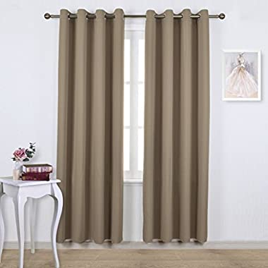 Nicetown Triple Weave Microfiber Energy Saving Thermal Insulated Solid Grommet Blackout Curtains for Patio (One Pair,52 Inch by 84 Inch,Taupe-Khaki)