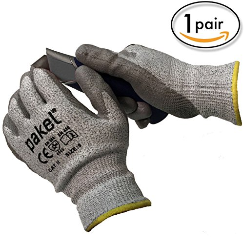 Pakel Y-01-10 High Performance En388 CE Level 5 Cut Resistant Knit Wrist Gloves, X-Large, Size (Knit Cut Resistant Gloves)