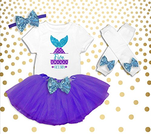 Girl's 5th Birthday Outfit, Mermaid Birthday Shirt, Mermaid 5th Birthday Outfit, Mermaid Birthday Party Outfit, Mermaid Birthday Tutu by Oliver and Olivia Apparel