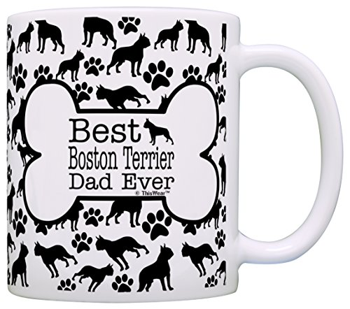 Dog Owner Gifts Best Boston Terrier Dad Ever Paw Pattern Gift Coffee Mug Tea Cup Bone Pattern ()