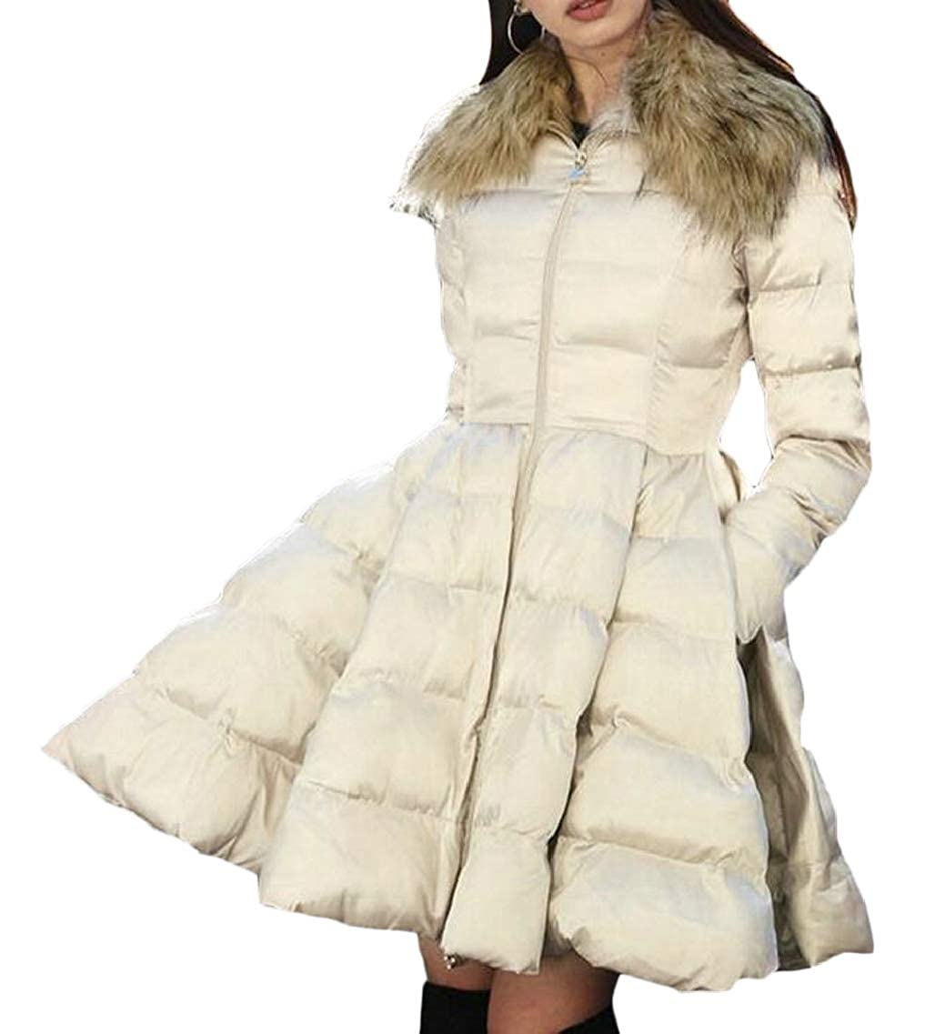 Champagne QDCACA Women's Thickened Down Coat Faux Fur Collar Winter Swing Puffer Jacket