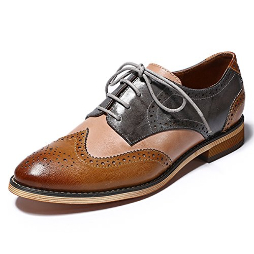 - Mona flying Womens Leather Perforated Lace-up Saddle Oxfords Brogue Wingtip Derby Shoes