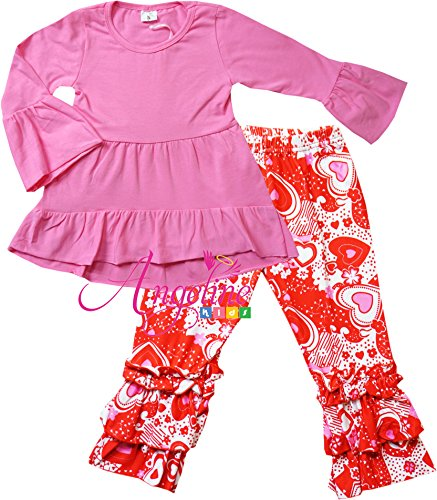 Boutique Clothing Girls Valentine hearts Hi-Low Tunic Top Ruffle Pants Set 7 (Tagged 150)