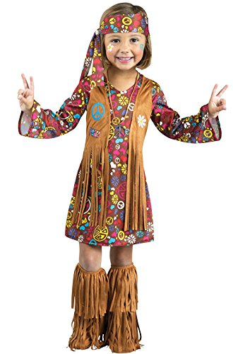 Hippie Costumes For Girl (Fun World Costumes Baby Girl's Peace and Love Hippie Toddler Costume, Brown, Small)