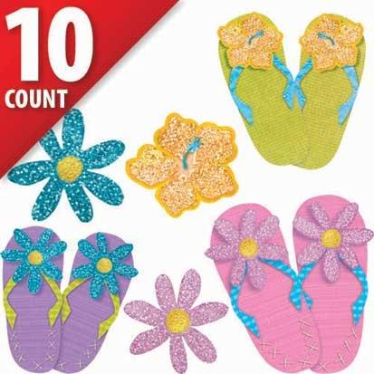 Fun in the Sun Mini Glitter Cutouts, 10ct -