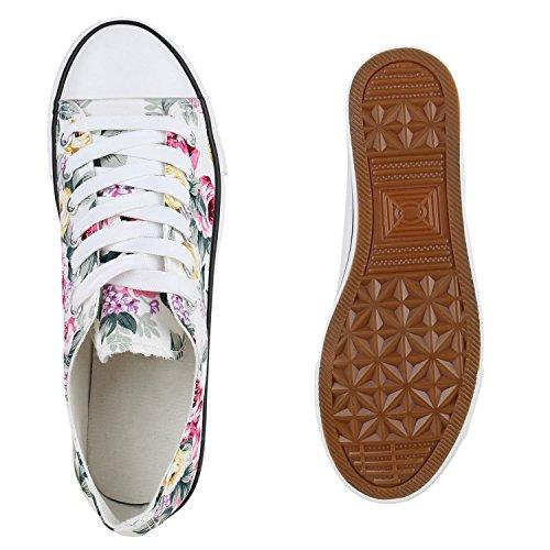 Stiefelparadies Damen Sneakers Glitzer Blumen Sneaker Low Stoffschuhe Denim Animal Prints Canvas Schuhe Übergrößen Flandell Weiss Blumen