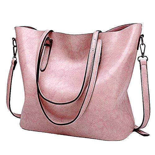 SSMK Womens Handbags Fashion Handbags for Women Leather Shoulder Bags Messenger Tote Bags Pink