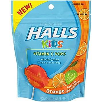 Amazon.com: HALLS Kids Vitamina C Pops, Naranja, 10 Little ...