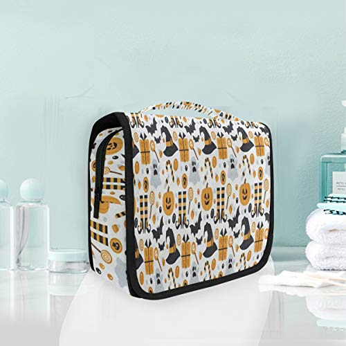 Toiletry Bag Happy Halloween Pumpkin Hanging Organizer Bag Wash Gargle Bag Cosmetic Bag Portable Makeup Pouch with Hanging Hook -