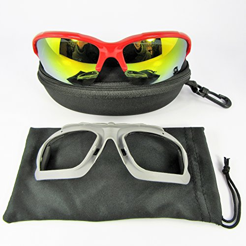 NEW - RED Wind Blocker Sunglasses with Hard Shell Case & Microfiber Bag - Goggles Men Ski Skiing Snowboarding Bike Motorcycle Cycling Wind Blocking - Sunglass Snowboarding