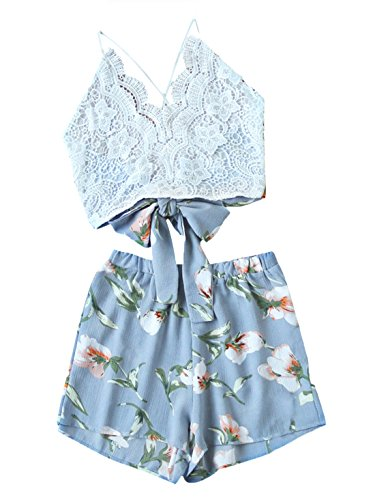 MakeMeChic Women Lace Crisscross Tie Back Cami Top and Shorts 2PC Set 1 (Waist Tie Back Top)