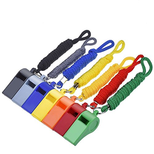 Mudder 7 Pieces Plastic Coach Whistle Sports Referee ()