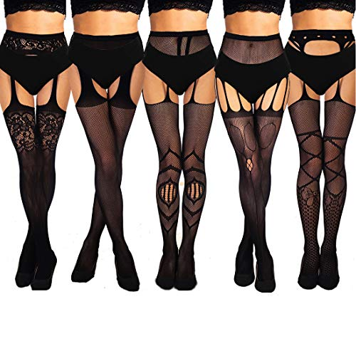 akiido High Waist Tights Fishnet Stockings Thigh High Stockings Pantyhose (5 Pairs Black Fishnet Tights-e)
