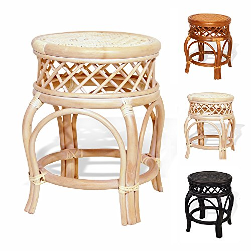 Ginger Handmade Rattan Wicker Stool Fully Assembled White Wash (Wicker Vanity Stool)