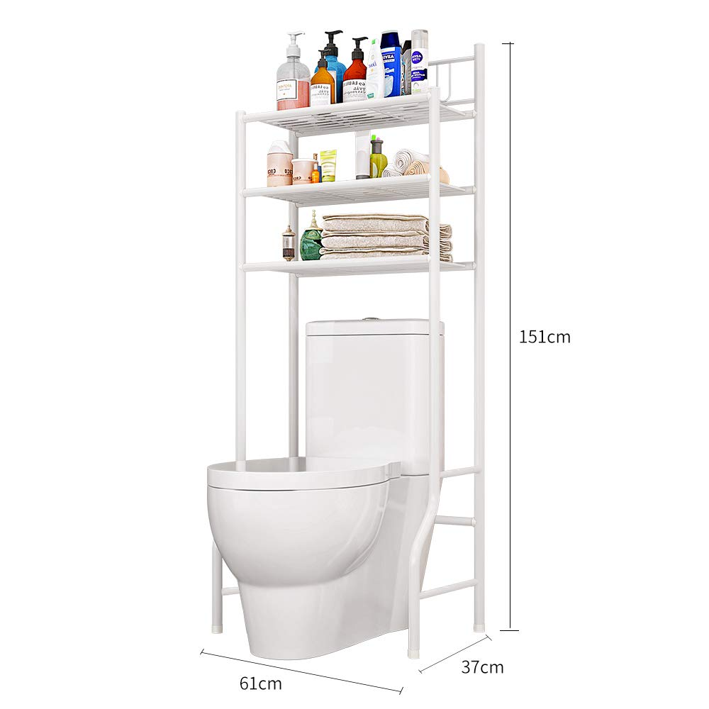 LENTIA 3-Tier Bathroom Shelving Rack Over The Toilet Storage Rack Metal Shelf for Space Saving Multi-Functional Fits Perfectly in Your Closet Bathroom by LENTIA