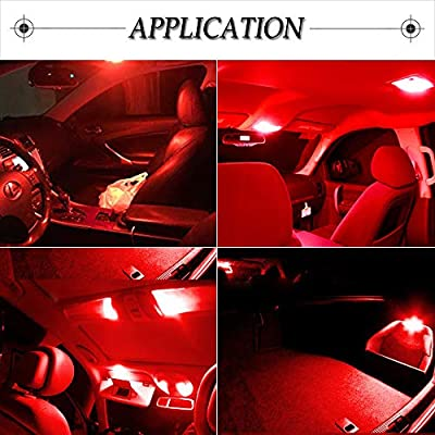 cciyu 9 Pack Red LED Bulb Replacement fit for 2009-2020 Nissan 370Z LED Interior Lights Accessories Replacement Package Kit: Automotive