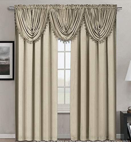 "GorgeousHome Pure Elegance Rod Pocket Window Dressing Curtain Panel Valance Watrefall Swag Faux Linen Texturedin Many Colors (Hollywood Beige Cream, 1 Valance 55""X37"")"