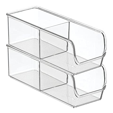 InterDesign Linus Kitchen, Pantry, Refrigerator, Freezer Storage Container-Divided 2 Compartment, 2-Pack, Clear