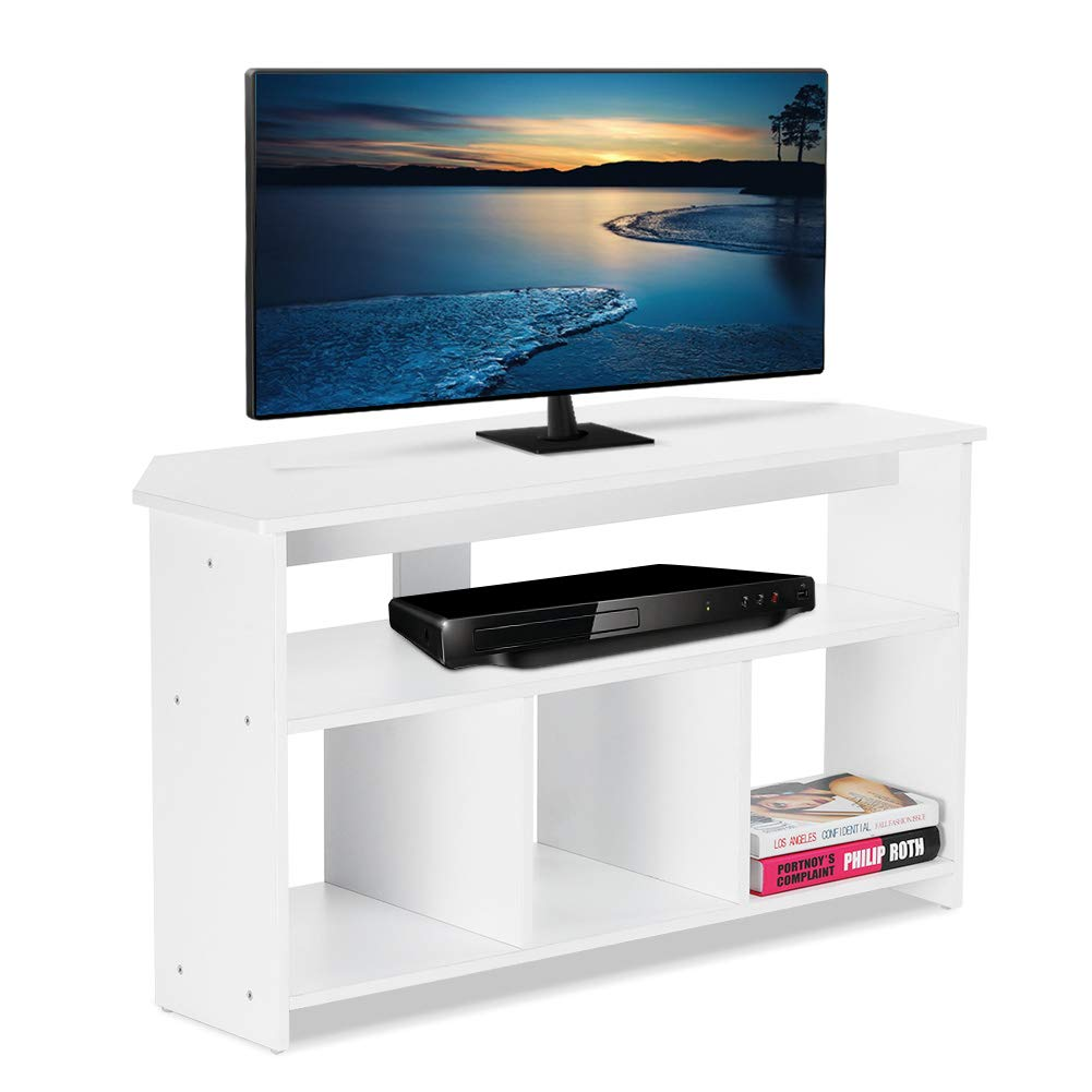 ADD ONE +1 TV Stand Cabinet/TV Corner Stand-Wooden TV Cabinet Unit stand for TVs up to 50 inch,White