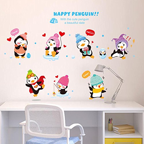 - BIBITIME Kindergarten Baby Winter Happy Penguin Wall Stickers Cartoon Nursery Window Decals Children Bedroom Kids Room Home Decor