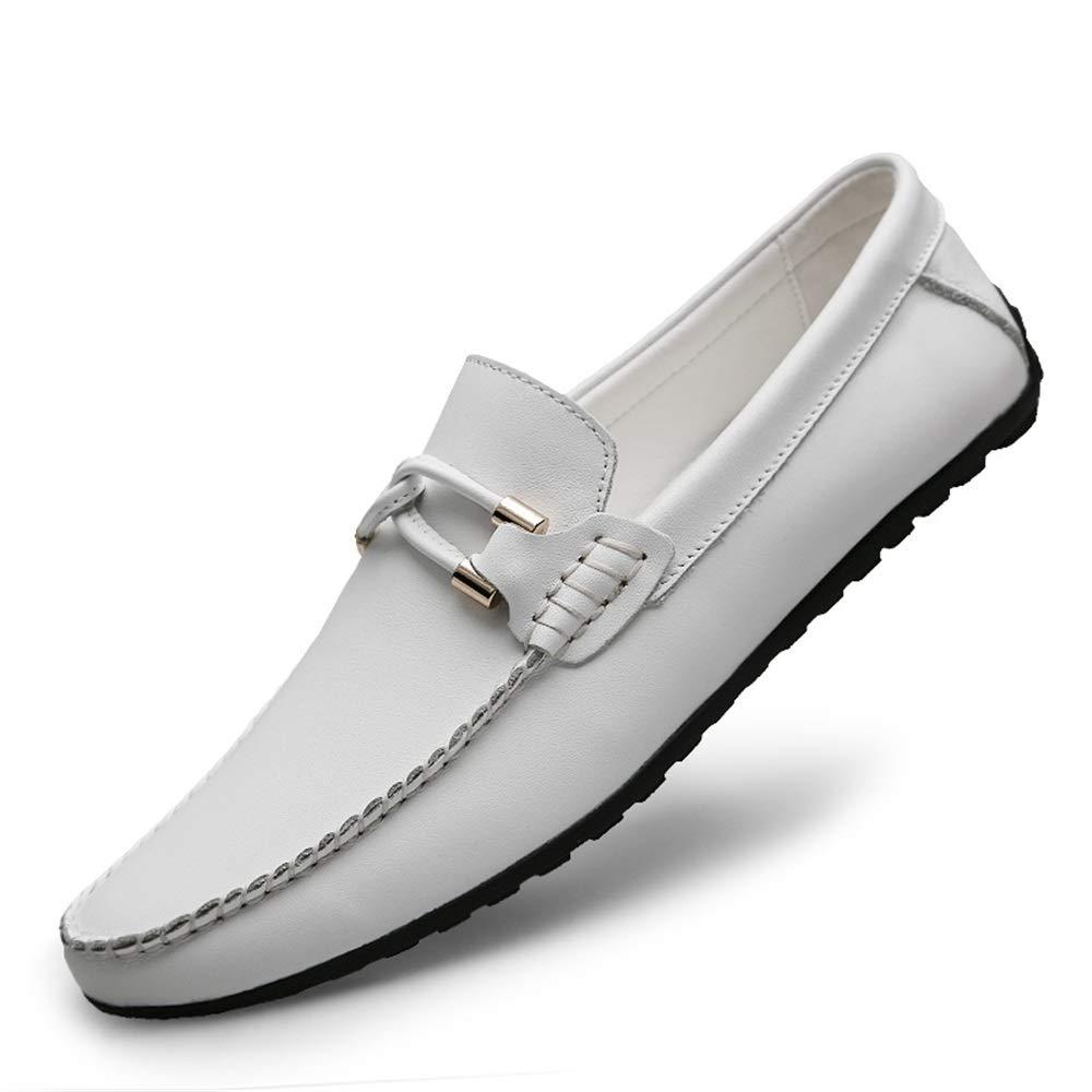 Herren Echtes Leder Slip On Penny Loafers Loafers Loafers Lässig Leichtgewichtig Atmungsaktiv Geprägte Schuhe Vegan Knot Anti Slip Flache runde,Grille Schuhe (Farbe   Weiß Embossed, Größe   41 EU)  ab3fab