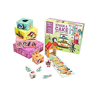 Chalk and Chuckles Stack a Cake First Game (3-6 Years) Roll and Play, Sing and Dance. Stacking Board Game for Preschool Kids, Social Emotional Skills Development