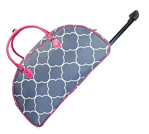 Ever Moda Pink Grey Moroccan Rolling Wheeled Duffle Bag 22-inch
