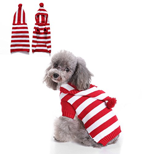 2 Patterns Stripe Knitted Dog Sweater, Winter Warm Dog Pajamas, Holiday Knitwear Dog hoodie Pet Clothes for Small Dogs and Cats by HongYH