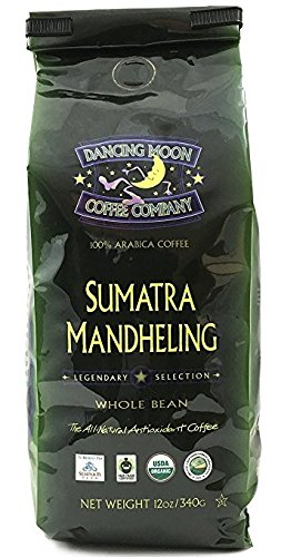 (3-Pack) 12 oz. Dancing Moon Sumatra Mandheling Dark Roast Whole Bean Coffee - Organic Fair Trade ()