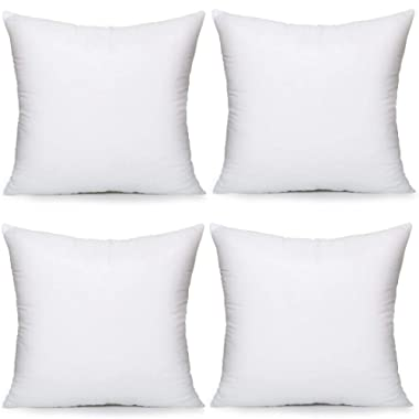 MoonRest 4 Pack Synthetic Down Square Pillow Insert Form Sham Stuffing, 100% Down Alternative Microfiber Lined with Woven Cotton Cover for Throw Pillow, Sofa Couch Cushion- Set of Four 22 x 22 Inch