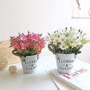 Charmly Artificial Flowers Potted European Style Design Silk Daisy Arrangements House Office Restaurant Table Centerpieces Windowsill Decor Daisy-White 2