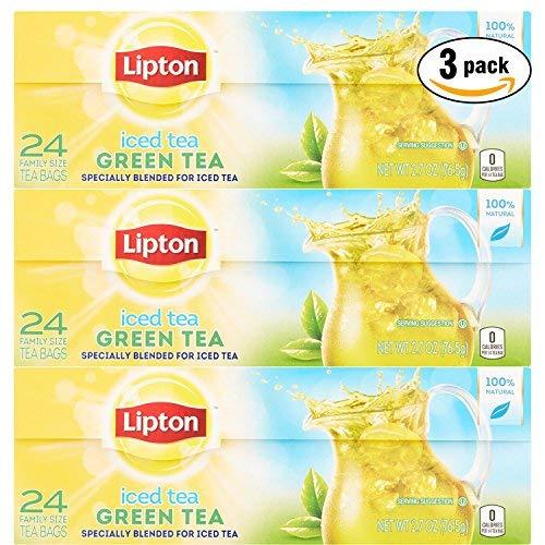 Lipton Iced Green Tea Bags Family Size, 24 Tea Bags (Pack of 3, Total of 72 Tea Bags)