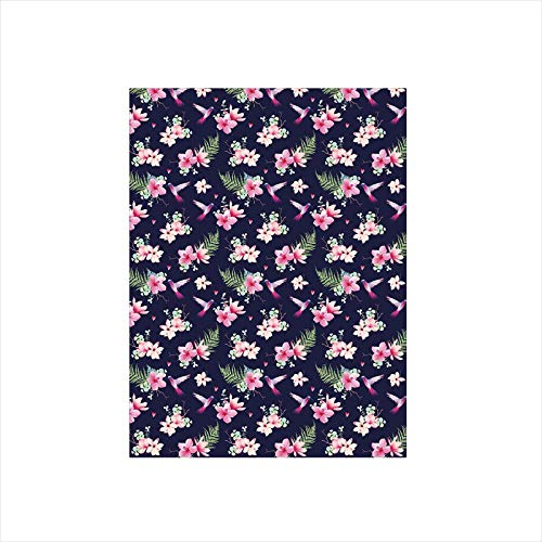 - Decorative Privacy Window Film/Tropical Flower Bouquets and Flying Hummingbirds Tiny Little Hearts Decorative/No-Glue Self Static Cling for Home Bedroom Bathroom Kitchen Office Decor Indigo Green Pink