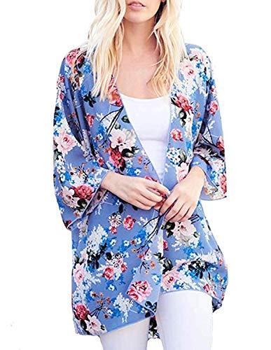 Women Soft Cover up Summer Beach Bikini Kimono Cardigan Shawl Capes Light Blue L