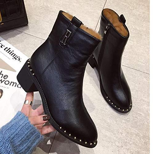 HBDLH Damenschuhe Schlanke Lederstiefel Heel 4Cm Stiefel Martin Dicke Stiefel Slim Mittlere Dicke Martin Schuhe Stiefel 41c90c