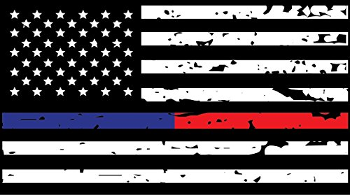 K9King Red and Blue Line Tattered Reflective 4.50 x 2.50 Sticker Flag Firefighter Police EMT Paramedics 3m United States Flag Sticker