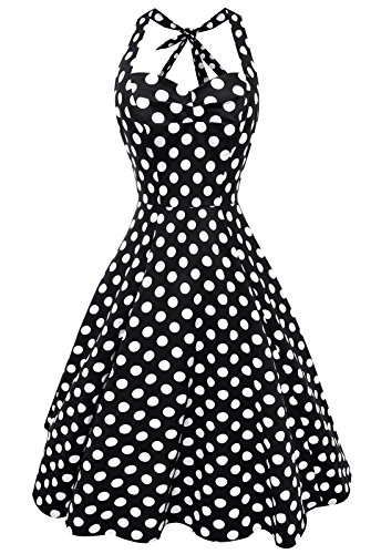 Anni-Coco-Womens-Halter-Polka-Dots-1950s-Vintage-Swing-Tea-Dress