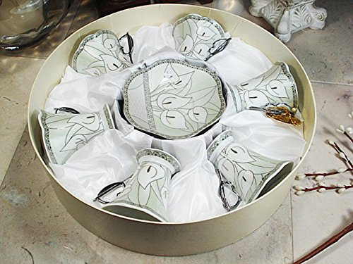 Box Calli Design - D'Lusso Designs 01-02822-S Calli Lilly 12 Piece Espresso Set in Hat Box