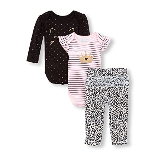 The Children's Place Baby Girls 3 Piece Princess Bodysuit Pant and Bib Playwear Bundle Set, Shell, 0-3MONTHS