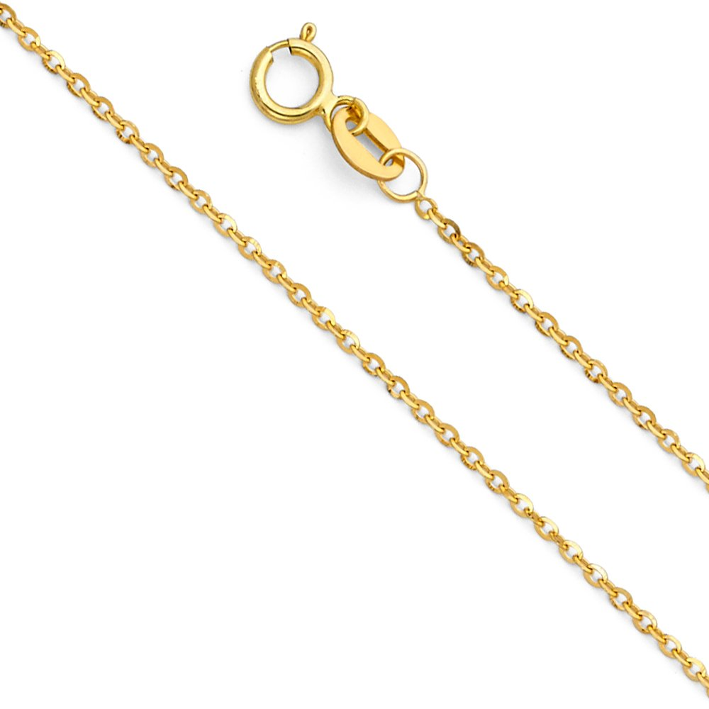 14k Yellow Gold Solid 1mm Side Diamond Cut Rolo Cable Chain Necklace with Spring Ring Clasp - 22''