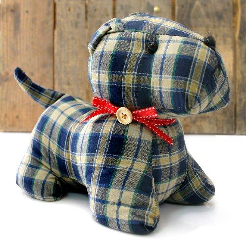 Tartan Check Patterned Fabric Doorstop Blue Scottie Dog Door Stop
